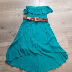 strapless teal ruffle smocked belted dress Large